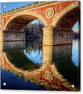 Bridge Reflection On River Acrylic Print by Andrea Mucelli
