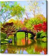Bridge With Red Bushes In Spring Acrylic Print