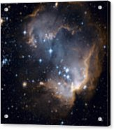 Bright Blue Newborn Stars Blast A Hole Acrylic Print by ESA and nASA