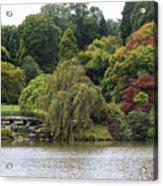 Bright Colors Of Autumn Trees On A Lake , Autumn Landscape. Acrylic Print