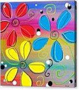 Bright Flowers Intertwined Acrylic Print