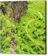 Bright Green Asbyrgi Canyon In Iceland Acrylic Print