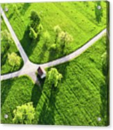 Bright Green Spring Meadow Aerial Photo Acrylic Print
