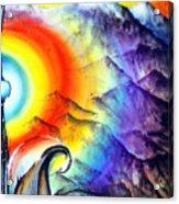 Bright Rainbow And Mountains. Cyborg's Land Acrylic Print