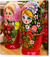 Bright Russian Matrushka Puzzle Dolls Acrylic Print