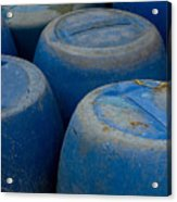 Brightly Colored Blue Barrels Acrylic Print