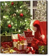 Brightly Lit Christmas Tree With Lots Of Gifts Acrylic Print by Sandra Cunningham