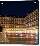 Brightly Lit Midnight - Plaza Mayor In Madrid Spain Acrylic Print