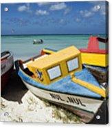 Brightly Painted Fishing Boats Aruba Acrylic Print