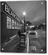 Brighton Ave Packard's Corner Allston Ma Sidewalk Black And White Acrylic Print