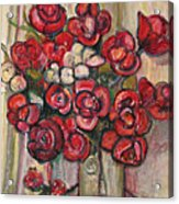 Brilliant Red Flower Oil Pastel Acrylic Print