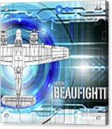 Bristol Beaufighter Blueprint Acrylic Print