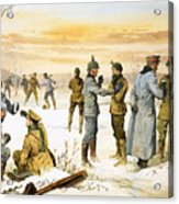 British And German Soldiers Hold A Christmas Truce During The Great War Acrylic Print