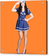British Navy Blue Pin Up Girl Saluting Acrylic Print