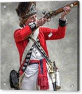 British Redcoat Firing Musket Portrait  Acrylic Print by Randy Steele