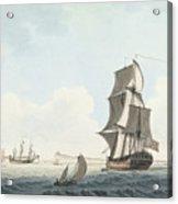 British Single Decker Off The Coast Acrylic Print