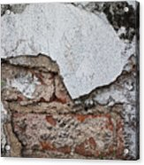 Broken White Stucco Wall With Weathered Brick Texture Acrylic Print
