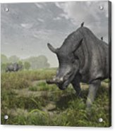 Brontotherium Wander The Lush Late Acrylic Print by Walter Myers