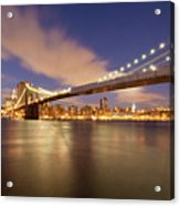 Brooklyn Bridge And Manhattan At Night Acrylic Print by J. Andruckow