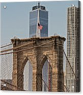 Brooklyn Bridge And One World Trade Center In New York City  Acrylic Print