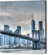Brooklyn Bridge And The Lower Manhattan Financial District Acrylic Print