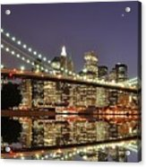 Brooklyn Bridge At Night Acrylic Print by Sean Pavone