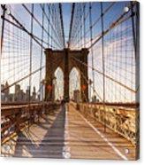 Brooklyn Bridge At Sunset, New York, Usa Acrylic Print