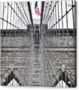 Brooklyn Bridge Flag Acrylic Print