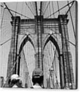 Brooklyn Bridge In Black And White Acrylic Print