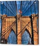 Brooklyn Bridge In The Golden Light Acrylic Print