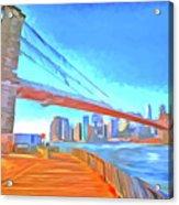 Brooklyn Bridge New York Pop Art Acrylic Print
