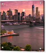 Brooklyn Bridge Over New York Skyline At Sunset Acrylic Print