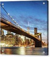 Brooklyn Bridge Panoramic At Night, New York, Usa Acrylic Print
