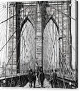 Brooklyn Bridge Promenade 1898 - New York Acrylic Print