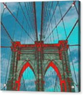 Brooklyn Bridge Red Shadows Acrylic Print