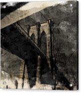 Brooklyn Bridge Reflection Abstract Acrylic Print