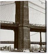 Brooklyn Bridge River Cafe Acrylic Print