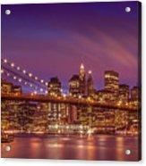 Brooklyn Bridge Sunset - Panorama Acrylic Print