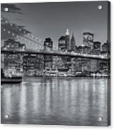 Brooklyn Bridge Twilight II Acrylic Print by Clarence Holmes