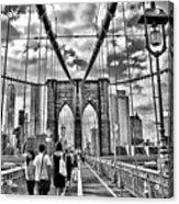 Brooklyn Bridge Walkway   B  And  W Acrylic Print