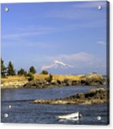 Brooks Point With Mt. Baker Acrylic Print