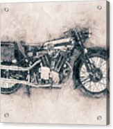 Brough Superior Ss100 - 1924 - Motorcycle Poster - Automotive Art Acrylic Print