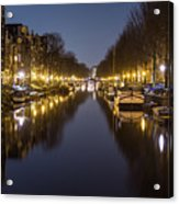 Brouwersgracht Canal In Amsterdam At Night. Acrylic Print