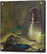 Brown And Gold Vase With Apple Acrylic Print
