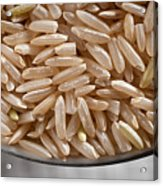 Brown Rice In Bowl Acrylic Print by Steve Gadomski