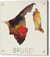 Brunei Watercolor Map Acrylic Print
