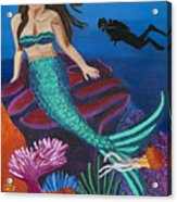 Brunette Mermaid With Turquoise Tail Acrylic Print