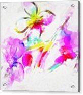 Brushed Abstract Flowers Acrylic Print