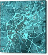 Brussels Traffic Abstract Blue Map And Cyan Acrylic Print