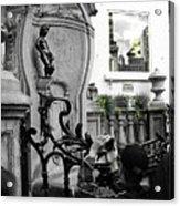 Bruxelles In The Street The Boy Acrylic Print by Yury Bashkin